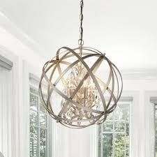Benita Brushed Champagne Metal and Crystal Orb 4 light Chandelier  Retail 138 49 champagne