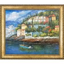 Italy at Dusk  Hand Painted Framed Canvas Art  Retail 274 49