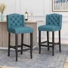 Foxwood Wingback Barstool  Set of 2  by Christopher Knight Home  Retail 278 99 navy blue and dark brown