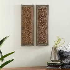 Studio 350 Wood Wall Decor Set of 2  38 inches high  12 inches wide   Brown  Retail 114 49