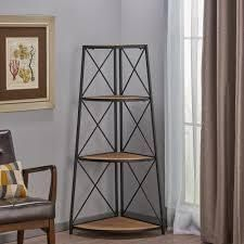 Nesha Industrial 3 Shelf Firwood Corner Bookcase by Christopher Knight Home   26 75  W x 18 50  D x 52 50  H  Retail 182 99