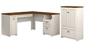 Fairview 60W l Shaped Desk and Storage Cabinet by Bush Furniture  Retail 479 99 2 boxes gray