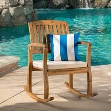 lucca Outdoor Acacia Wood Rocking Chair with Cushion by Christopher Knight Home  Retail 157 49