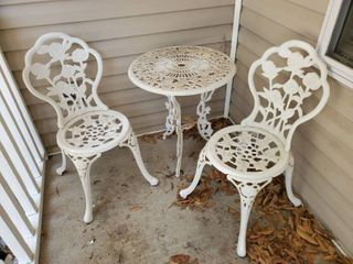 3 Piece Iron Rose Design Patio Set   2 Chairs   Table