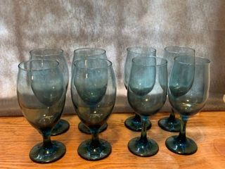 Set of 8 Blue Glasses location Kitchen Cabinet
