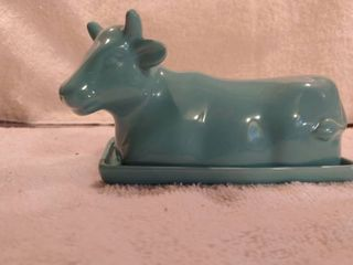Dark Turquoise Ceramic Cow Butter Boat