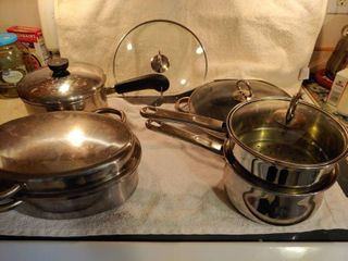 4 Piece Stainless Steel Pots with top