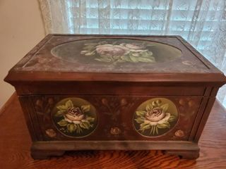 Mahogany White Roses Trunk with Brass Handles and Red Felt Interior