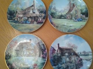 English Country Cottages by Marty Bell Collectible Plates   4 Total