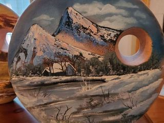 Terra cotta Painted Vase with Western Winter Theme  1990