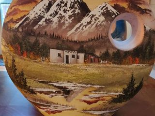 Terra cotta Painted Vase with Summer Western Theme