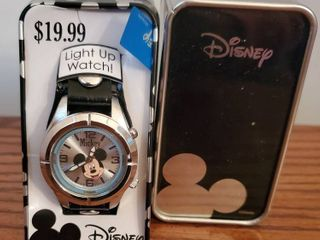 Bleck leather and Chrome Watch with Mickey Mouse lights Up