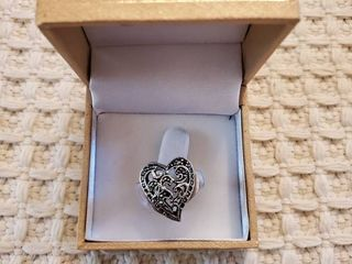 Sterling Silver Heart Womens Ring
