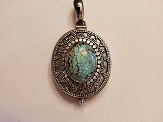 Sterling Silver Turquoise Bead locket Pendent