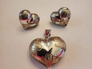 Sterling Silver Heart Necklace Pendent and Matching Earings