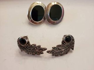 lot of 2 Black Onyx Stone Sterling Silver Earings