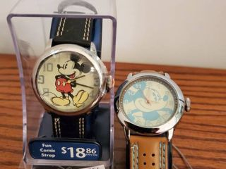 lot of 2 Mickey Mouse Watches  Baby Blue and Tan leather  and 1 with Fun Comic Strap