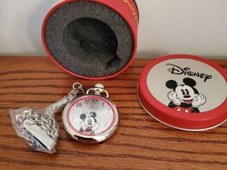 Mickey Mouse Chrome Pocket Watch  In Red Tin