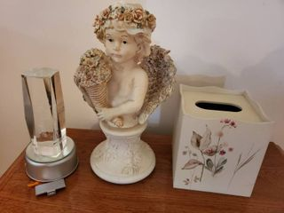 lot of 3  2 Angel Decor and 1 Wooden Tissue Box