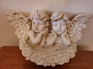 Angel Wall Hanging Decor with 2 Angels and Roses  Plastic Mold