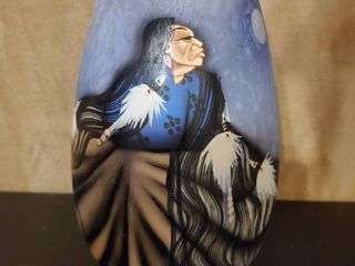 Ceramic Native Themed Floral Vase   Handpainted and Signed by Redbird