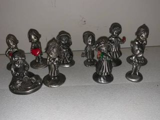 lot of 10 little Gallery Pewter Figurines location Basement Closet