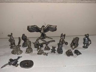 lot of 15 Pewter Figurines location Basement Closet