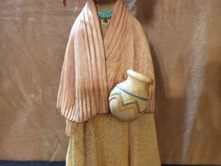 Native American Woman with Urn and Teal Necklace