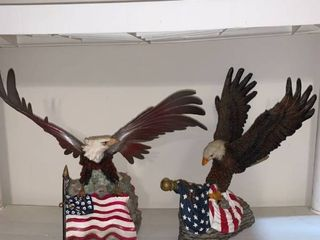 Two Bald Eagle With Flag Statues location Pool Table