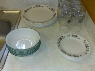 Set Of Vintage Corelle By Corning Dishes Plates  Bowls  Saucers  Glasses