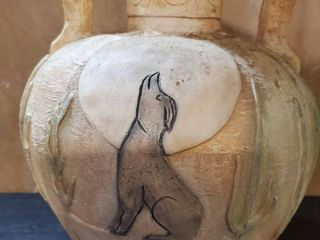 Native American Folk Art Pot Pottery Vase  Coyote  Rare  Handles  Clay Hand Painted