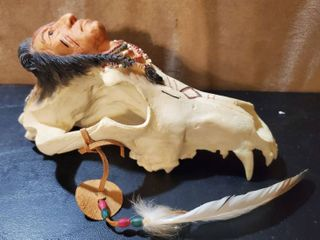 Native American Molding of Skull and Native Head