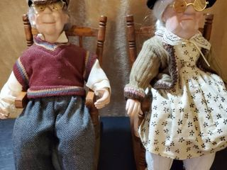 lot of 2 Porcelain Dolls in Rocking Chairs  Grandma and Grandpa