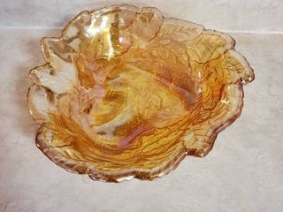Vintage Marigold Iridescent Carnival Glass loganberry leaf Candy Dish