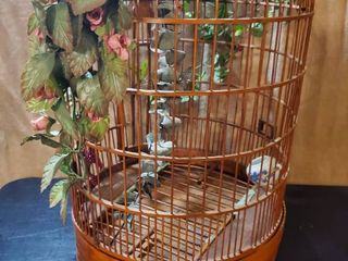 Awesome Chinese Wooden Birdcage with Crane Etching  Small Blue and White Feeder with Dragon Design