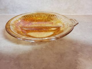 Vintage Gold Carnival Glass Irridescent Divided Footed Round Dish