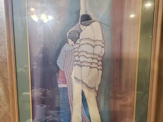 Wall Art of Native Couple Covered in Panchos
