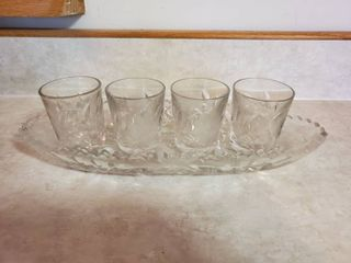 5 Piece Crystal Glass Set   4 Shot Glasses and Tray