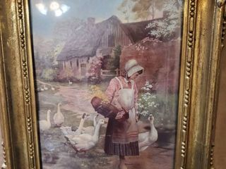 Print of Woman with Floral Basket with Geese Following  In Plastic Frame