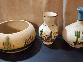 lot of 3 Ceramic Vases with Desert and Cactus Theme