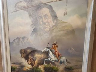 P Denton Acrylic Painted Indian Chasing Bison