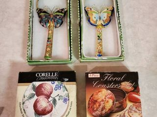 2 Sets of NIB coasters and Butterfly Magnifying Glasses