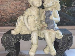 Boy and Girl Sitting on Bench Resin Statue location Pool Table