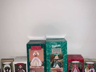 lot of 4 Hallmark Barbie Ornaments and 2 Barbie Stocking Hangers location Basement Closet