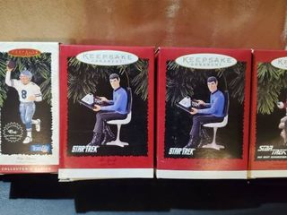 lot of Collectible Hallmark Ornament  Start Trek and NFl Players  SPOCK  JOE MONTANA  TROY AIKMAN  COMMANDER WIllIAM