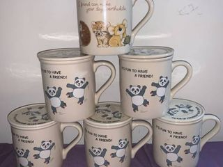 lot of 6 Cute Mugs With lids Coasters location Pool Table