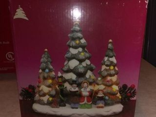 Trim A Home Porcelain Tree Scene With Triple lights Works Great Illuminated