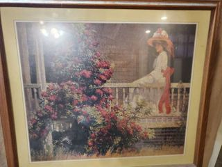Print of Blurry Elegant Woman with White Dress on Porch