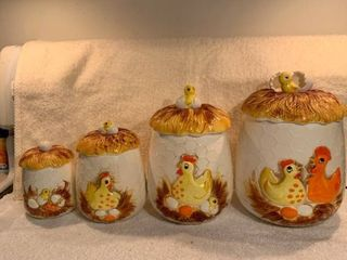 Vintage 4 Piece Sears and Roebuck 1976 Ceramic Hens and Chicks Canister Set location Kitchen Corner Cabinet