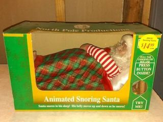 Vintage 16  Snoring Santa Claus Motion Animated Christmas In Box Works
